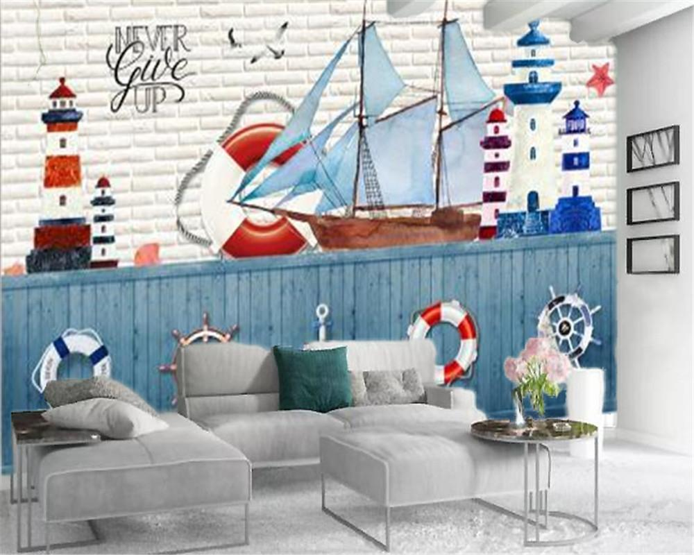 3d Modern Duvar kağıdı Beyaz Yelkenli Dümen Lifebuoy Ev Dekorasyonu Salon Yatak odası Wallcovering HD Duvar Kağıdı