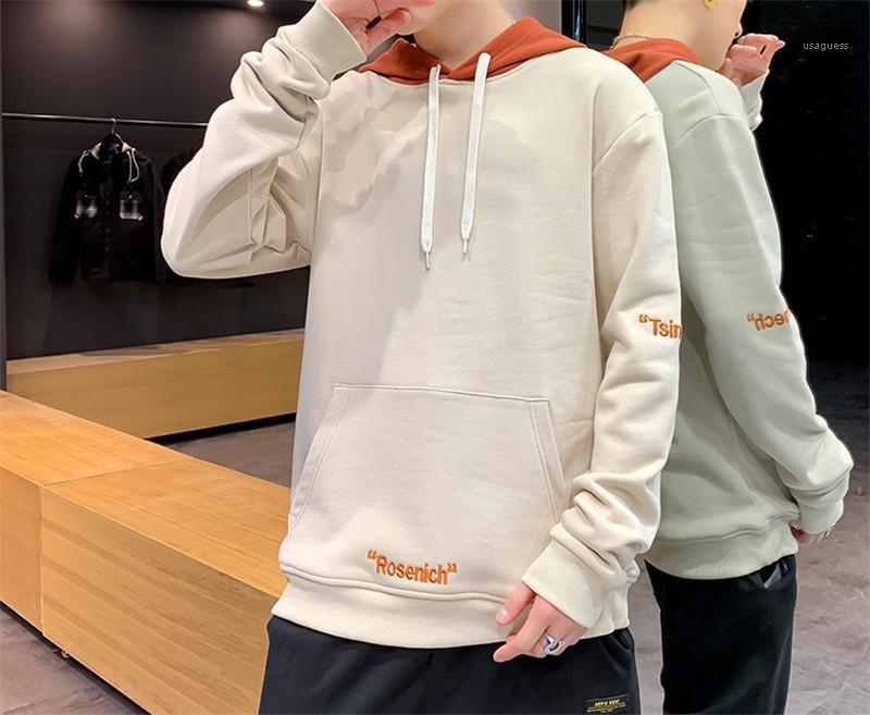 Frühlings-lange Hülse mit Kapuze Kragen Pullover Herren Pullover Reguläre Länge Sweatshirts Stickerei Buchstabedruck Menshoodies-Designer