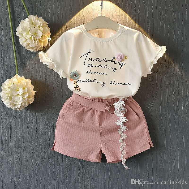 baby girl set summer suits short T-shirts fashion shorts middle and small kids clothing cotton designer clothes