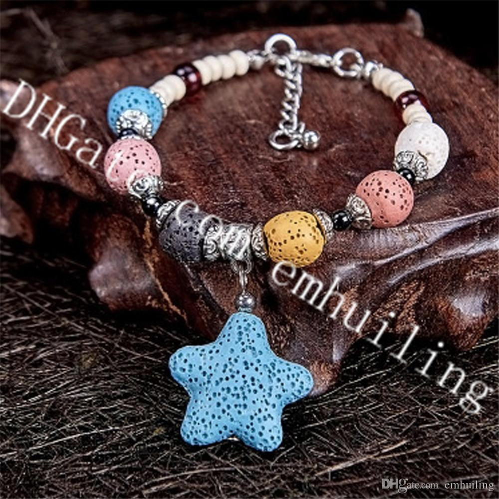 10Pcs Essential Oil Diffuser Lava Rock Beads and Star Bracelet Aromatherapy Bracelet Colorful Volcanic Stone Gemstone Women Bracelet Jewelry
