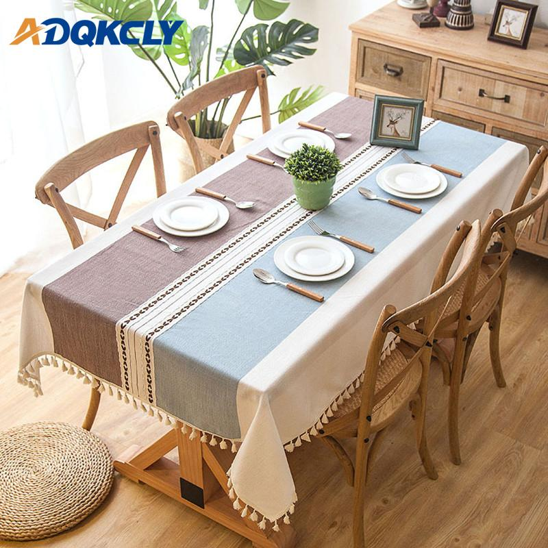1PC Rectangle Tablecloth 100% Cotton Oilproof with Tassels Dining Table Cover Kitchen Wedding Dining Table Cover Desk Cloth