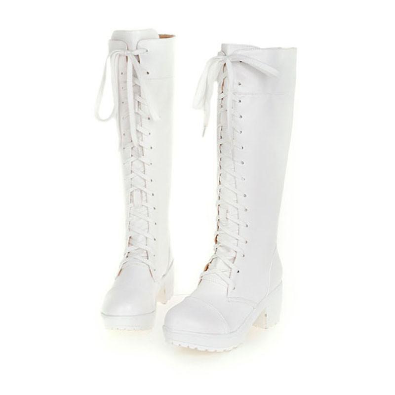 Hot Sale- Big Size 48 Retro Warm Plüsch Frauen schnüren sich oben Stiefel hoch Fest Winter-Knie-Hign Boots dünne Platz Heel Lady Platform