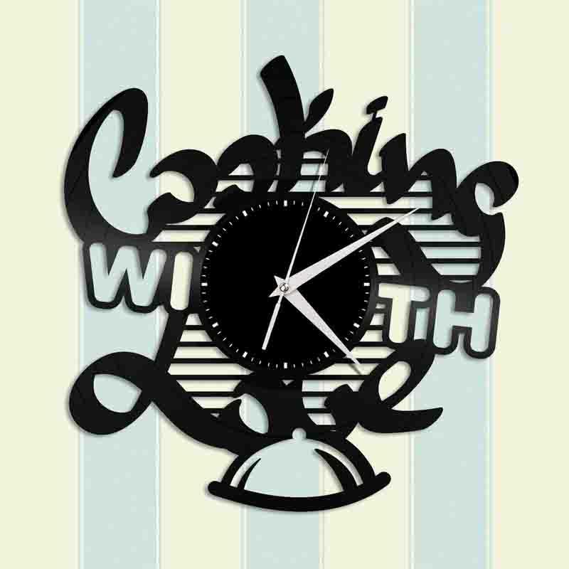 Cozinhar com amor Vinil Relógio de parede projeto original Home and Kitchen Decor Handmade Art Personalidade presente (Tamanho: 12 polegadas, cor: preto)