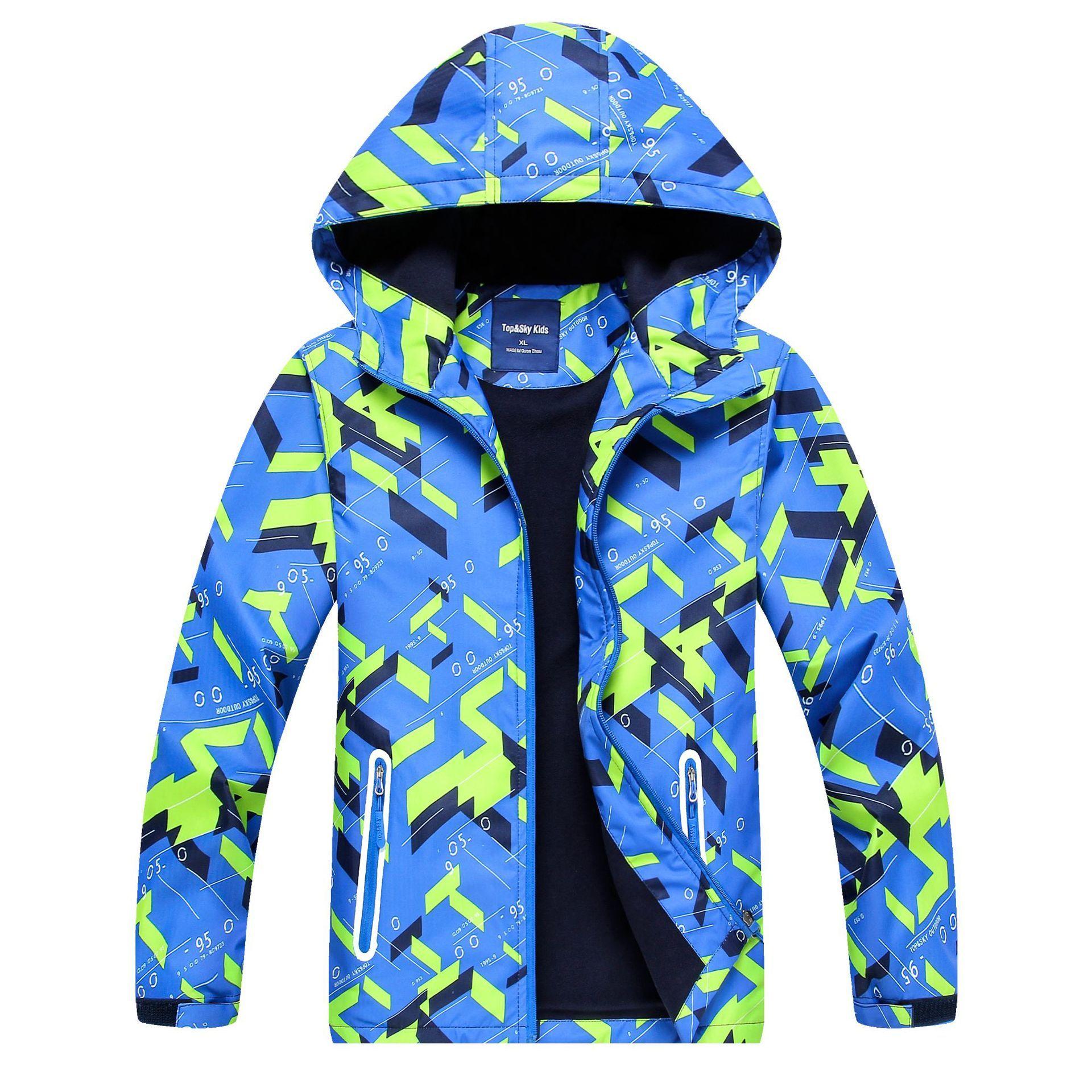 Großhandel Mode Jungen im Freien wasserdicht atmungsaktiv Reißverschluss mit Kapuze bedruckte Jacke Windjacke
