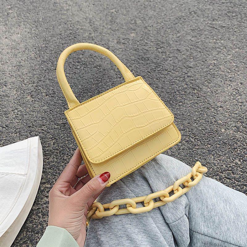 Motif en pierre PU Sacs Crossbody cuir pour femmes 2020 Gros chaîne Design Madame épaule Messenger Sacs à main Sacs à main Voyage
