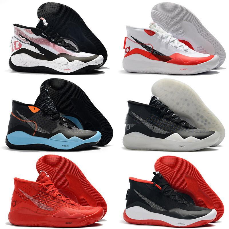 2020 أحذية الرجال KD 12 لكرة السلة MVP أسود أبيض فضي فريق الذهب الأحمر الوردي Easters دينار 12 كيفن دورانت XII تكبير حذاء رياضة