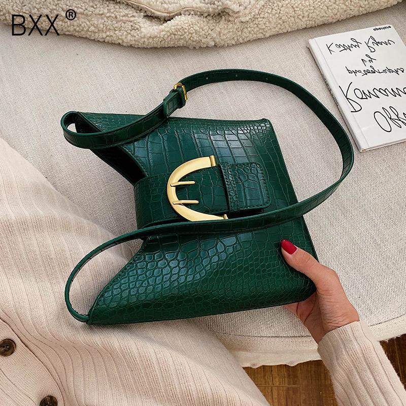 [BXX] PU Vintage Borse secchio di cuoio per le donne 2019 Piccolo solido alle spalle Colore Crossbody Bag Femminile Messenger Bag Borse HJ235