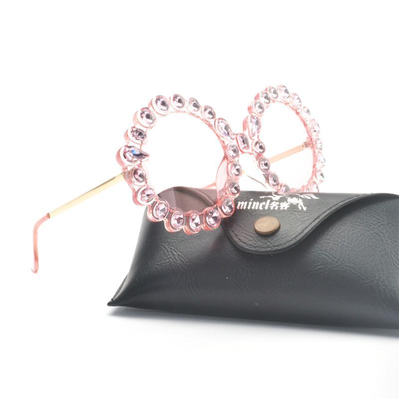 Vintage Rodada Óculos De Sol Das Mulheres Designer De Marca de Diamante Decoração Moldura de Luxo Strass Óculos de Sol de Alta Qualidade Shades UV FML