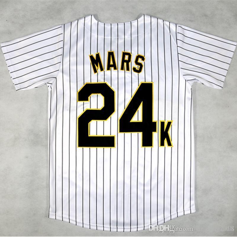 Мужские хулиганы Бруно Марс 24K белые в полоску колледж бейсбол Джерси сшитые сшито-белый S-XXXL