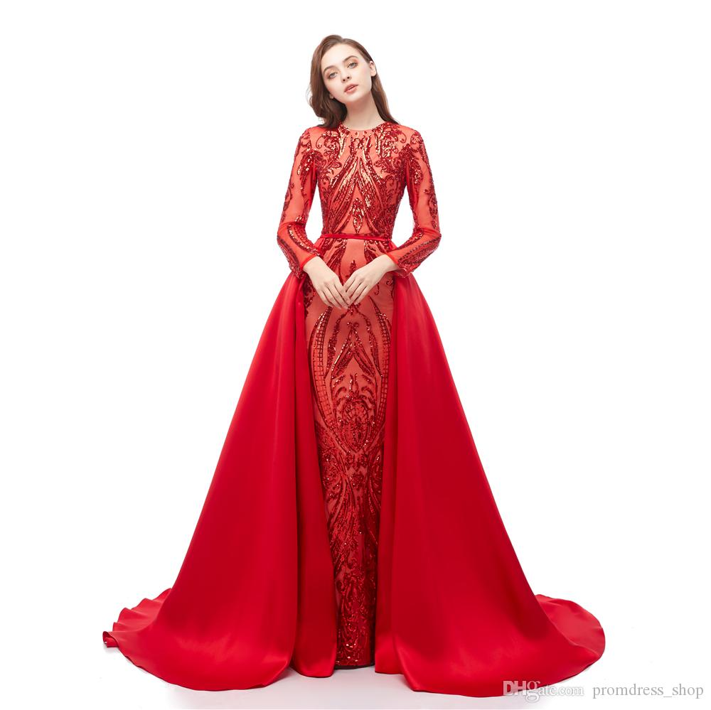 Luxury Dubai Long Sleeves Red Sequins Prom Dresses 2021 Mermaid Detachable Train Evening Party Gowns Custom Made Plus Size Sexy Prom Gown