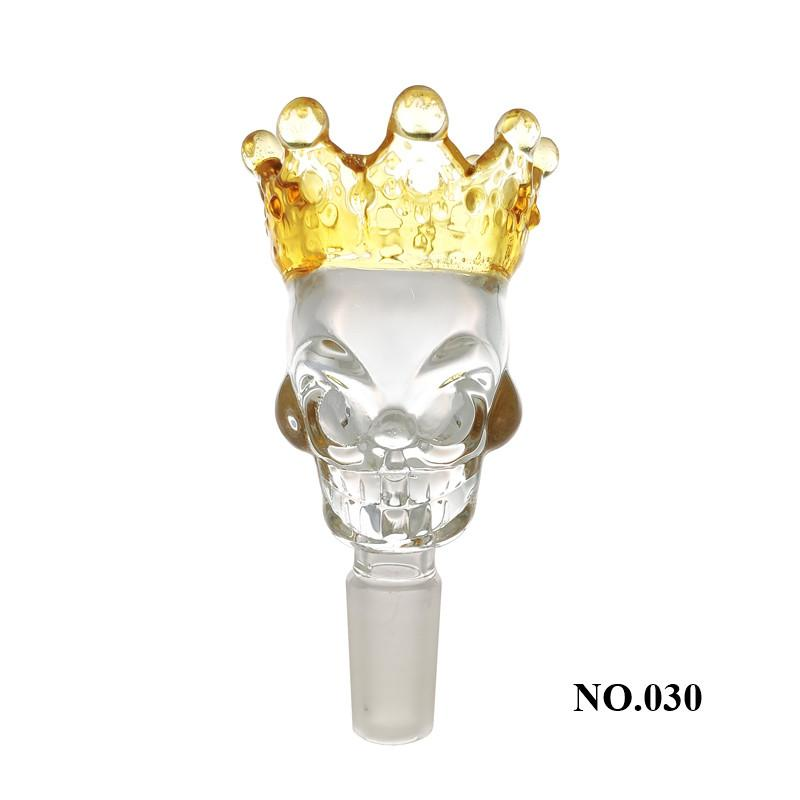 New style Popular thickening crown skull glass bowls with 14mm and 18mm male joint glass smoking accessories free shipping zs
