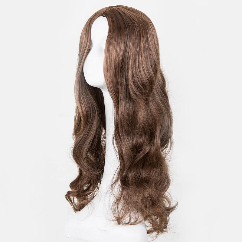 Nice Black Wig Fei-show Synthetic Heat Resistant Long Curly Middle Part Line Hair Costume Cos-play Halloween Carnival Party Hairpiece Synthetic None-lacewigs