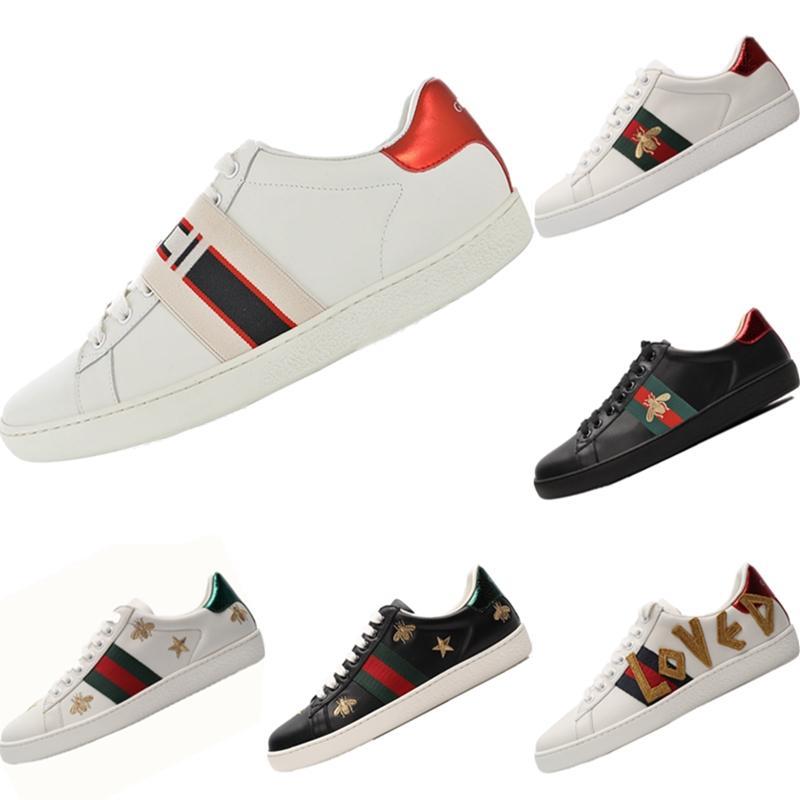 2020 Cucci Ace bordado Little Bee escotado ocasional de las zapatillas de deporte original Ace pequeño bordado abeja zoom incorporado monopatín Aire de zapatos