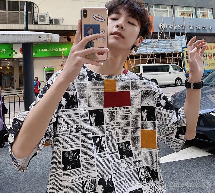 Мужчины Личностные футболки мужчин футболка с коротким рукавом хип-T-Shirt Mens тройники O-образным вырезом Повседневная футболка Мужская Верхняя одежда