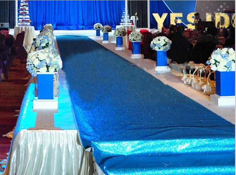10m Per molti 1.4M vasta Wedding Royal Blue Pearlescent centrotavola stazione decorazioni Carpet T Aisle Runner Per Wedding i rifornimenti dei puntelli