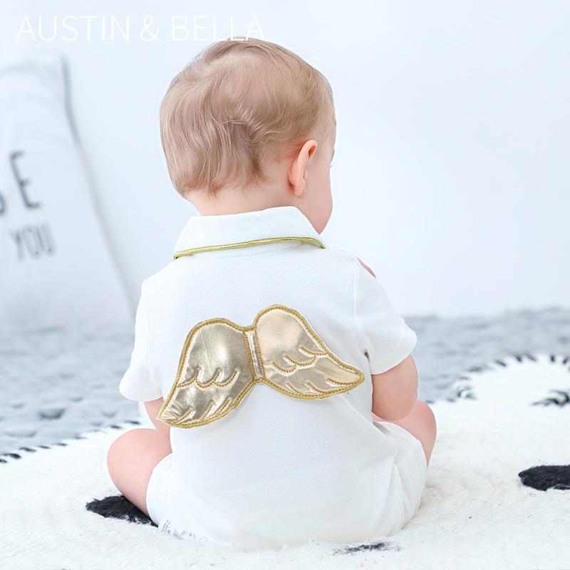 2020 Baby Body Jungen weiße kurze Hülsen-nette Flügel auf der Rückseite 100% Baumwollsäuglingskleinkind Baby Strampler Kleidung