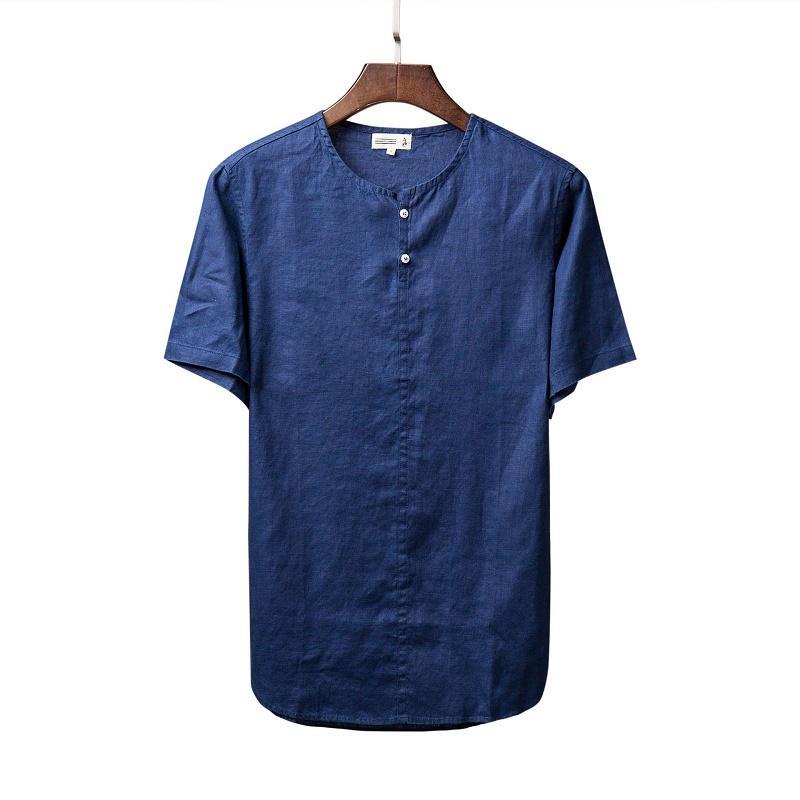 % 100 Keten Kısa Kollu Gömlek Erkekler Yaz Yakasız Katı Beyaz Haki Casual Kazak Gömlek