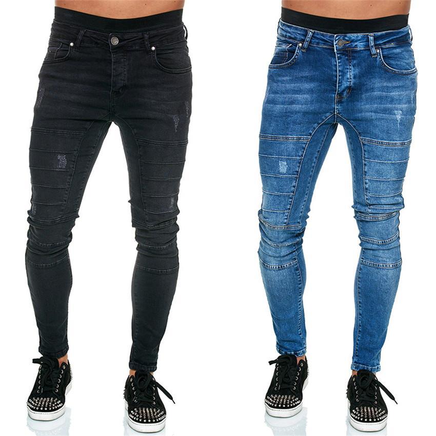 Casual Motociclista Mens Jeans Slim Mens Calças De Lápis Moda Cor Sólida Esticamento Alto Cintura Masculina Calças De Jeans