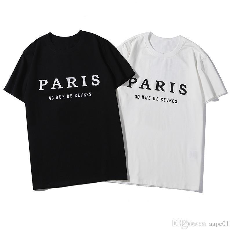 Shirt Designer Carta Imprimir T 2020 Mens Designer T Shirt Casual Homens Mulheres de alta qualidade manga curta Mens Tees 2 Cores