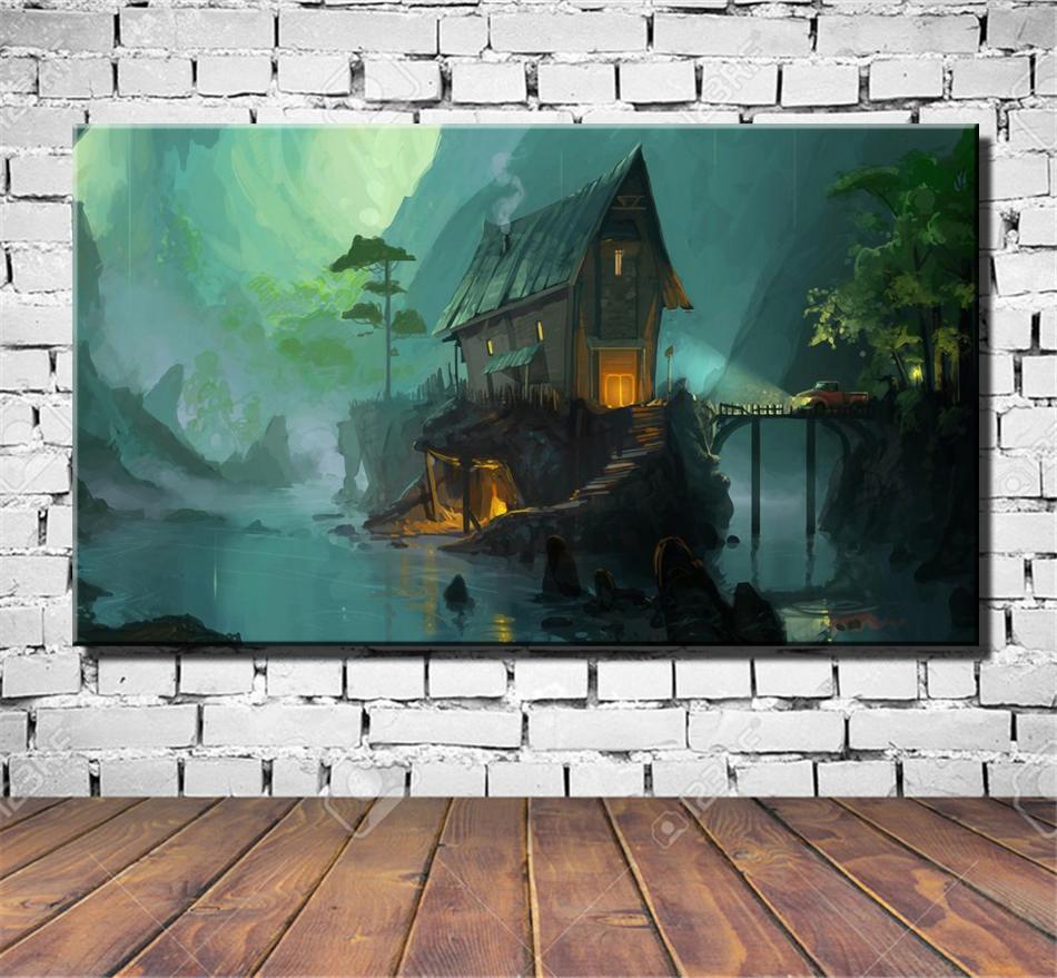 Fantasía Casa, Pintura Lienzo de impresión de alta definición Nueva decoración del hogar Arte / sin marco / enmarcada