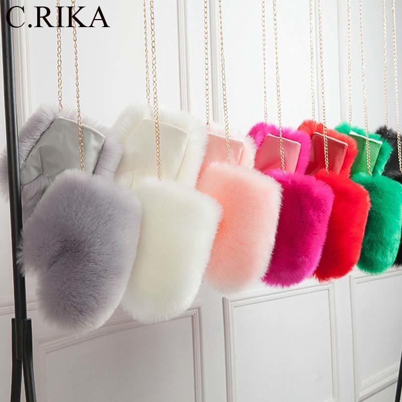 Nueva imitación piel de zorro mitones guantes femeninos forrados pu guante invierno ruso cadena extraíble piel guantes blancos para mujer guantes de moda D19011005