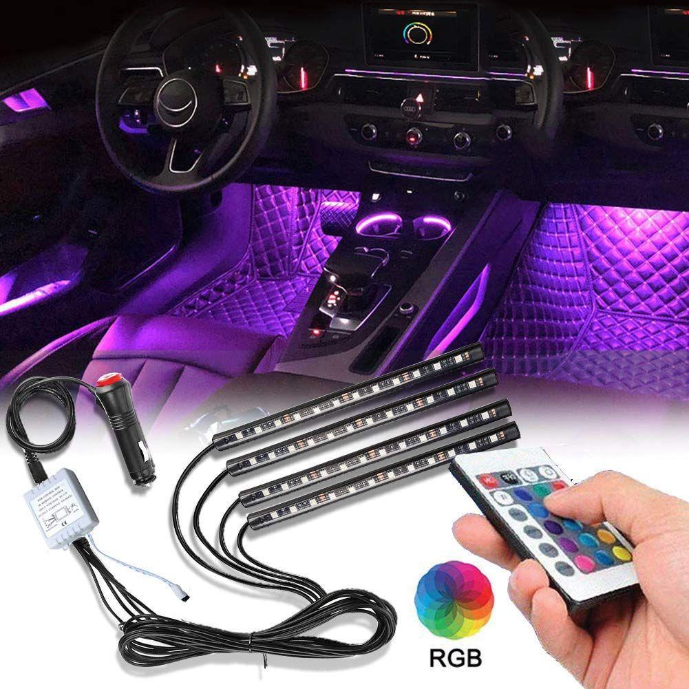 자동차 인테리어 조명 4Pcs 48 LED 자동차 층 분위기 글로우 네온 조명 멀티 컬러 음악 자동차 LED 스트립 조명 대시 조명 DC12V 아래