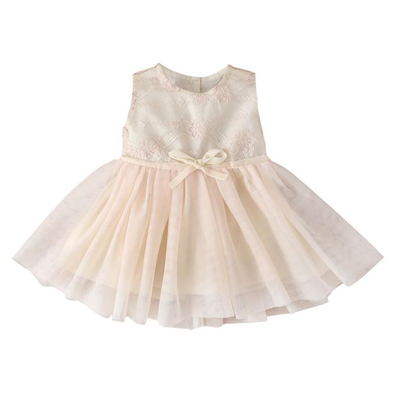 Vestito con motivo dei bambini estate di modo della neonata pizzo floreale Abito senza maniche bambini dolci della principessa Hot Party