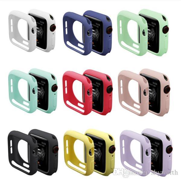 para la cubierta del caso de TPU Apple Seguir banda de silicona iWatch Serie 4 3 2 1 Protección completa de colores Casos 42mm 38mm 40mm 44mm