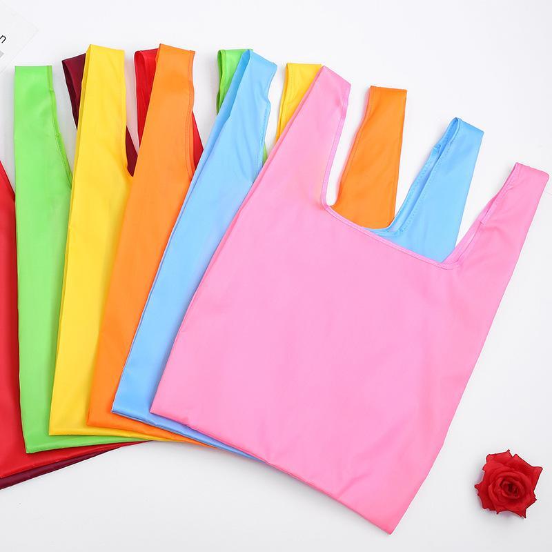 sacos de compras portátil dobrável reutilizável amigável 210D oxford pano doces impermeável totes de armazenamento bag cor eco 35 * 57 * 11cm