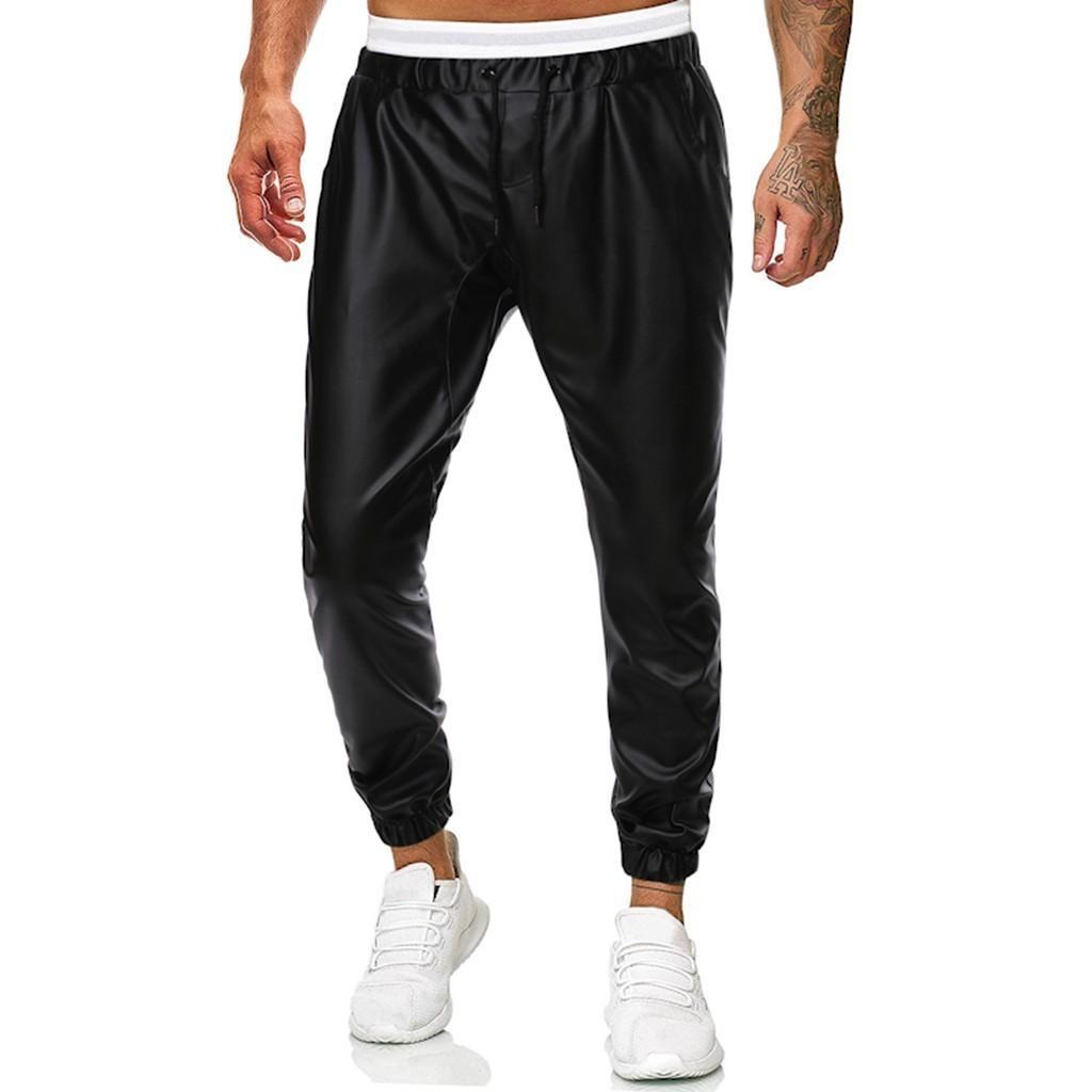 Men Casual Simple Handsome Solid Leather Pants Trousers pantalones hombre streetwear joggers hip hop pantalon homme sweatpants T200113