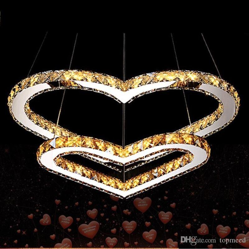 Hot Modern Luster LED LED Crystal Lampadario Luminaria Lampada da cristallo a forma di cuore Lampadario Lampadario Camera da letto Soggiorno Lampada lampada