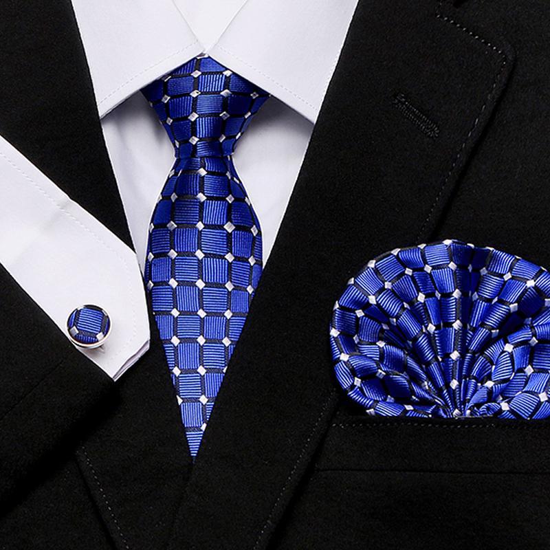 Die Bindung der Männer dünne blaue palid 100% Silk klassische Jacquard Woven Extra lange Krawatte Hanky Cufflink Set für Männer Formale Hochzeit