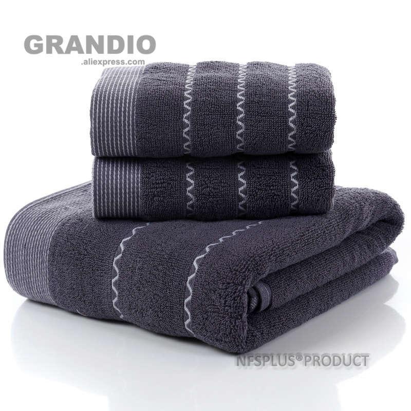 3 Pack toalhas de algodão Set Branco Café Azul Escuro 1PC Toalha de banho para adultos 2PCS enfrenta a mão toalhas de banho Praia curso de desporto