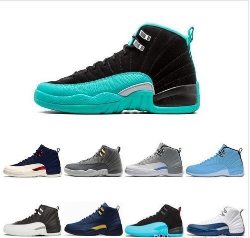 Großhandel Neue Hyper Jade 12 Basketball-Schuhe 12s XII UNC College-Navy TAXI Playoffs Herren Sport Sport Turnschuhe Größe 7-13