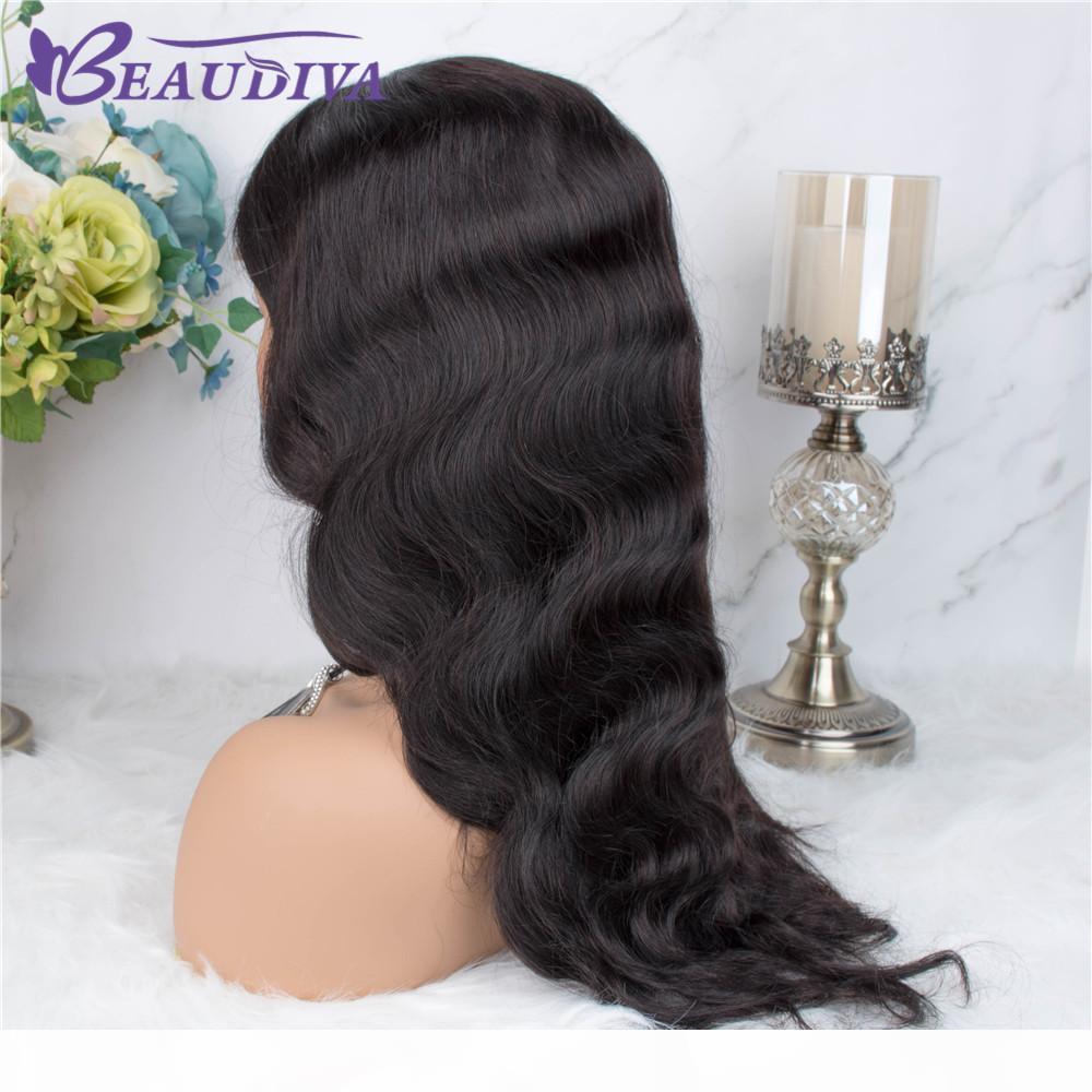 Body Wave 4 * 4 dei capelli umani chiusura del merletto parrucche Medio Parte parrucche Pre pizzico linea sottile con capelli del bambino peruviano onda del corpo del merletto