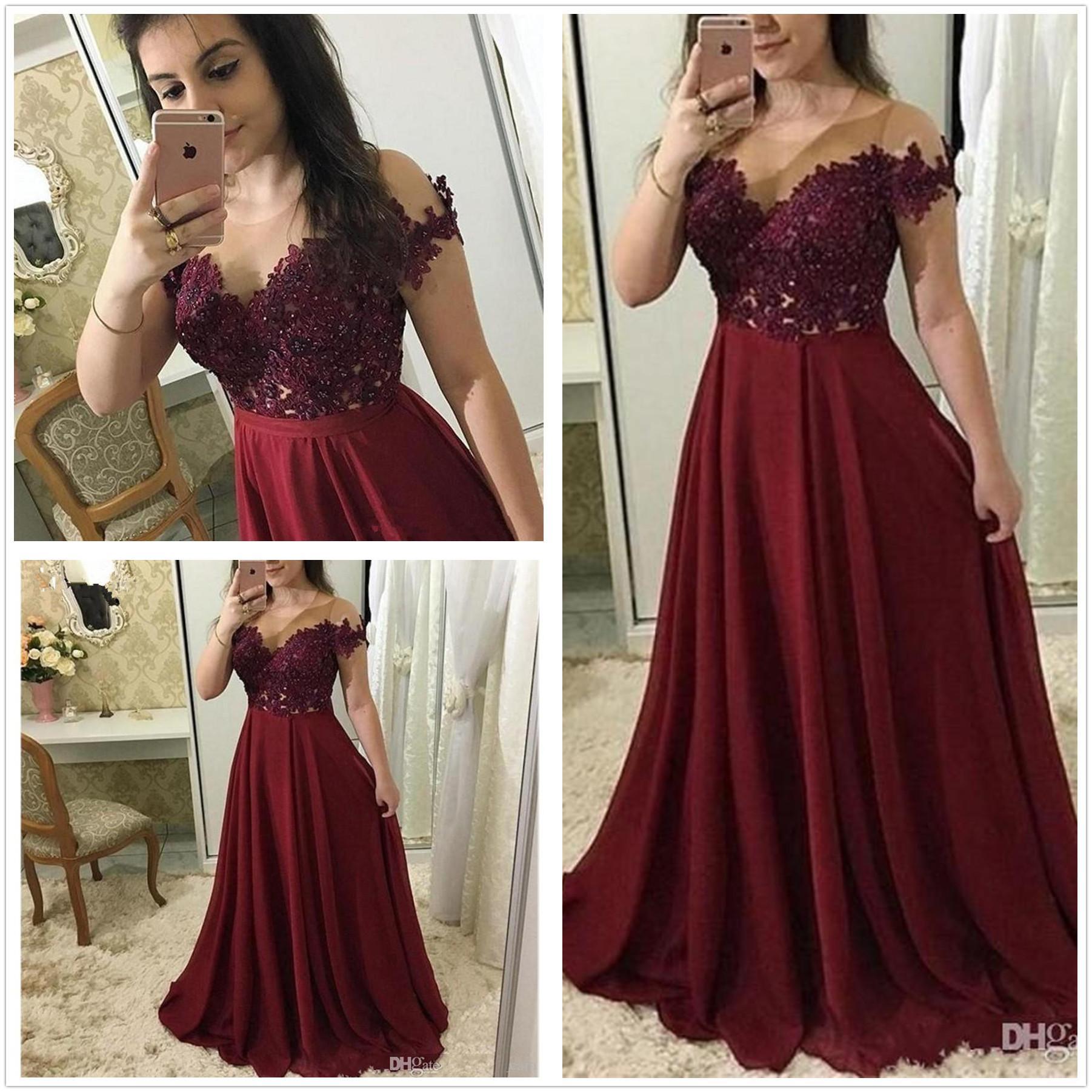 부르고뉴 댄스 파티 드레스 2020 긴 환상 목선 짧은 소매 레이스 아플리케 이브닝 가운 긴 쉬폰 특별한 드레스