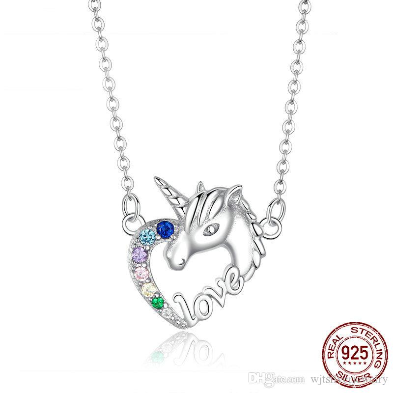 New Fashion 925 Sterling Silver Love Heart Animal Licorne Ciondolo Collane per le donne Verde Viola Blu Zircone Collana Belle Gioielli