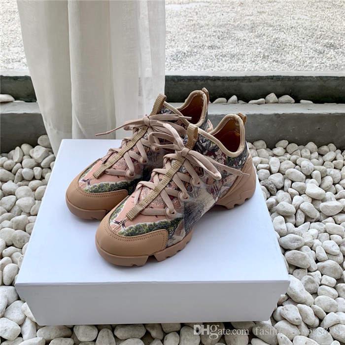 Súper versátil estilo de zapatos de señora con tela de lycra de color piel de vaca de seda mezclados zapatillas de deporte de la plataforma, antideslizantes Con estuche original 35-40
