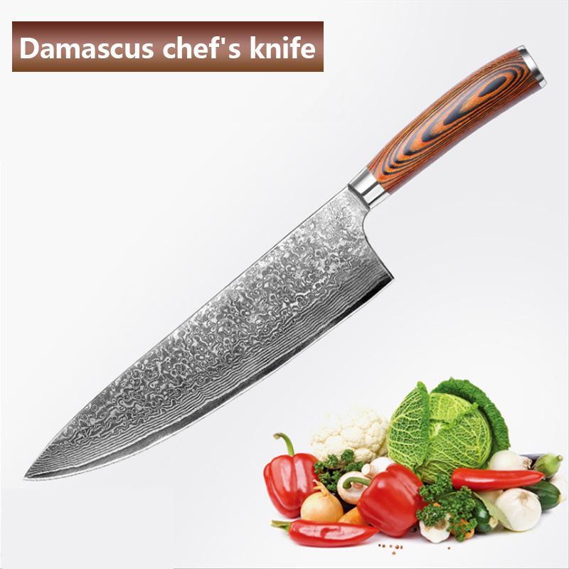 Cuchillo de cocinero de aço damasco de 8 pulgadas, cuchillo cozinheiro chefe VG10, cuchillo fruta para el hogar, carne faca, knive pescado crudo