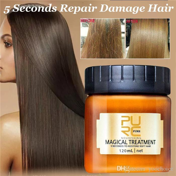 PURC قناع العلاج السحري 120ML 5 الإصلاحات الثانية أضرار استعادة الشعر الناعم ضروري لجميع أنواع الشعر الكيراتين فروة الرأس