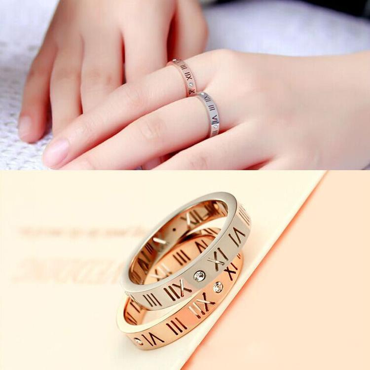 Martick Europe Brand Roman Numerals Rings For Women Wedding Jewelry Stainless Steel With Cubic Tail Rings R2