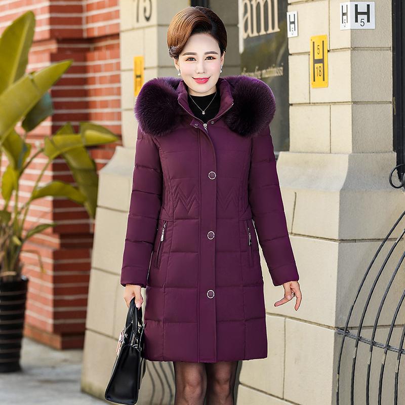 2019 hiver épaisse doudoune chaude grande veste à capuche manteau de col de fourrure