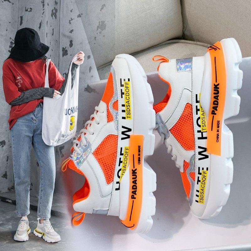Verão Running Shoes for Women Lace-up Correndo Sneakers respirável Altura Shoes Moda Mulheres Esportes estudante alta qualidade