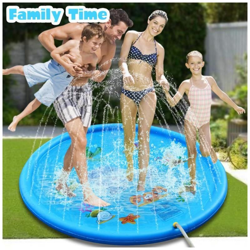 110/160/170CM Sprinkling Swimming Pool Water Play mat Summer Lawn Games Pad Family Game Inflatable Spray Water Cushion Pat