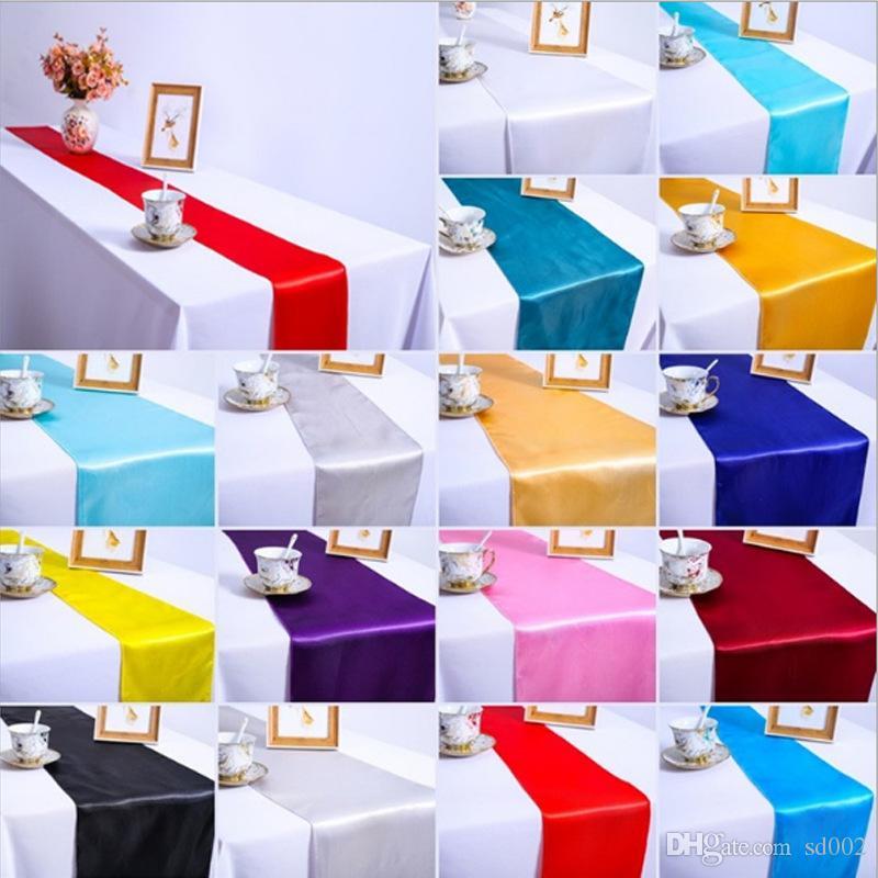 우아한 테이블 탑 러너 새틴 단색 식탁보 장식 홈 섬유 파티 웨딩 장식 30 * 275 센치 메터 3 2dma E1