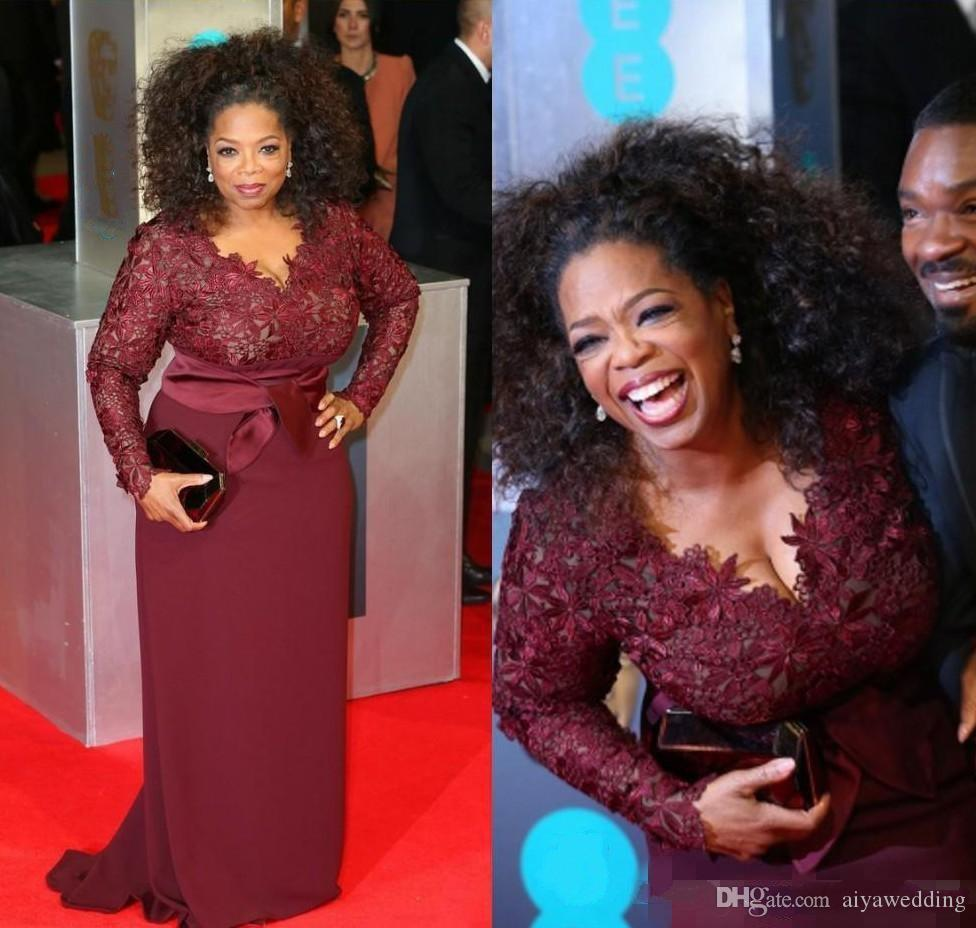 Modest Red Carpet Plus Size Burgundy Oprah Winfrey Sheath V-Neck Long Sleeve Lace Top Sweep Train Prom Dress for Fat Women party gowns