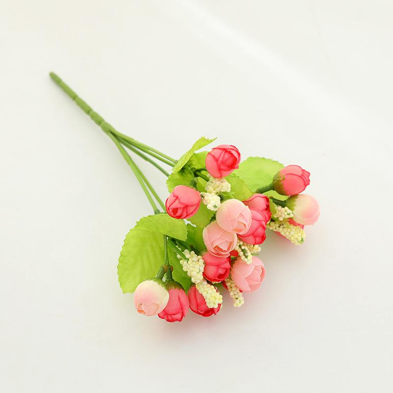 24cm Wedding spring pearl rose bud artificial flowers silk flower background props artificial plants for home wedding decoration