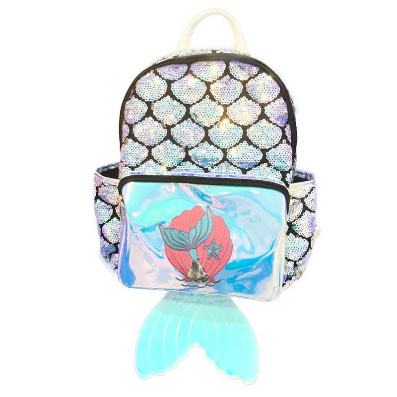 Mermaid laser bambini zaini paillettes ragazze zaini coda di pesce bambini festa estate borsa ragazze sacchetti di scuola satchel bag zaino FFA2040