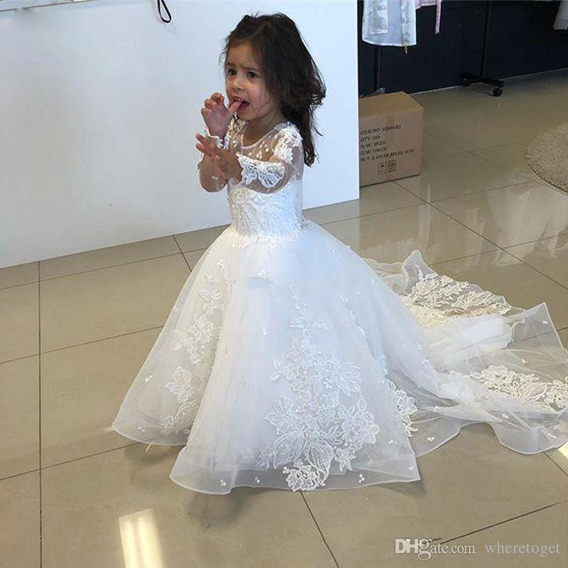 2019 Yeni Beyaz Bir Çizgi Dantel Çiçek Kız Elbise Düğün İçin mücevher Jewel Boyun Uzun Kollu Kat Uzunluk Tül Childern Commnunication Elbiseler