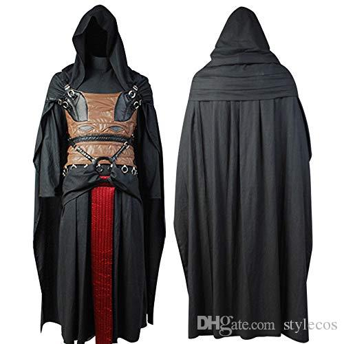Mens Darth Revan Tunic Hooded Robe Uniform Outfit Halloween Cosplay Costume